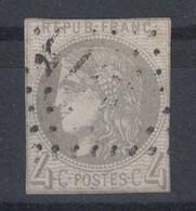TIMBRE CÉRÈS ÉMISSION DE BORDEAUX 4c GRIS N° 41 (41B) OBLITÉRÉ GC (COTE 325€) Avec VERSO SANS DÉFAUT - 1870 Bordeaux Printing