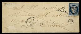 """NORD - LSC - Cursive 57 Aniche (1851) + Grille Sur N° 4 (25c Bleu Cérès) + """"OR"""" -> Condé (57) - 1849-1876: Klassieke Periode"""