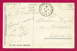 """Écrit Sur Carte Postale Daté De 1919 - Armée Française Du Rhin - Oblitération """"Trésor Et Postes - Secteur Postal 67"""" - Zona Francesa"""