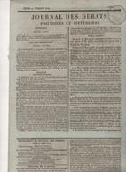 JOURNAL DES DEBATS 21 07 1814 - STRASBOURG KELLERMANN RETOUR DES PRISONNIERS - DUC D'ANGOULEME A BORDEAUX / BEAUPREAU - - 1800 - 1849