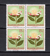 RUANDA-URUNDI   N° 178 BLOC DE QUATRE TIMBRES   NEUF SANS CHARNIERE   COTE 0.60€   FLEUR - 1948-61: Neufs