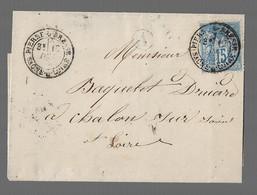 """PIERRE DE BRESSE : 1878 :  CàD Type 19 Sur  Sage 15c  Bleu + Boite Rurale """" A """" :  ( Saône Et Loire ) : - 1877-1920: Periodo Semi Moderno"""