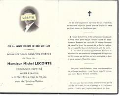 MILITAIRE- Michel LECONTE , Prisonnier Rapatrié , + à Laventie Le 8/5/1945 à 40 Ans , Imp. Laventie - Obituary Notices