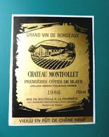 Etiquette  Vin De Bordeaux CHATEAU MONTFOLLET 1986 - 1ère Côtes De Blaye - Bordeaux