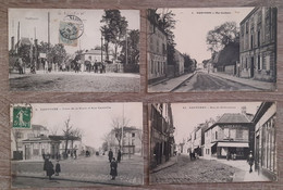 6 CPA De NANTERRE - Le Passage à Niveau - Place De La Boule Et Rue Gambetta - Rue St Germain - Rue Chemin De Fer - Nanterre