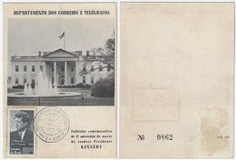 Brazil 1965 RHM-FO-23 Souvenir Card  2nd Anniversary Of The Death Of President J. F. Kennedy White House - Cartas