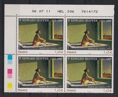 France - 2012 - N° Yv. 4633 - Edward Hopper - Bloc De 4 Coin Daté - Neuf Luxe ** / MNH / Postfrisch - 2010-....
