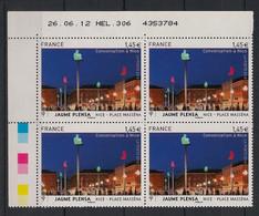 France - 2012 - N° Yv. 4683 - Jaume Plensa - Bloc De 4 Coin Daté - Neuf Luxe ** / MNH / Postfrisch - 2010-....