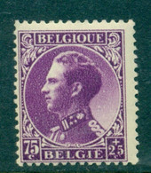 België 1934 Leopold III T.b.v. Oorlogsinvaliden 75+25c Paars OPB 391 Postfris MNH - 1934-1935 Léopold III