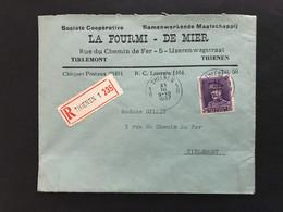 Albert I Kepi - OBP322 Op RECOMMANDE Briefomslag THIENEN 1B - Tirlemont - 1931-1934 Chepi