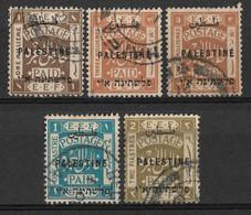 Palestine, British Mandate 1921, 5 Used Stamps. Overprinted At London. - Palestine