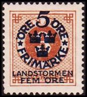 1916. Landstorm I. 5+Fem Öre On 3 ö Yellow Brown Wmk Wavy Lines \ + KPV. Never Hinged... (Michel 87) - JF414294 - Neufs