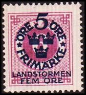 1916. Landstorm I. 5+Fem Öre On 6 ö. Lilac Wmk. \ + KPV. Hinged. (Michel 90) - JF414297 - Neufs