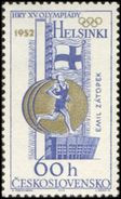 Czechoslovakia / Stamps (1965) 1430: Olympic Games 1952 Helsinky, Emil Zatopek (run, Marathon); Painter: Anna Podzemna - Sommer 1952: Helsinki