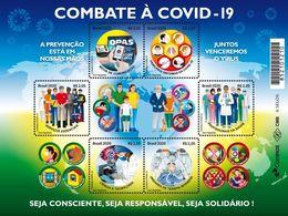 BRAZIL 2020 - FIGHTING  CORONAVÍRUS DISEASE - COVID-19  - HEALTHCARE -  BLK OF 6 - MINT - Unused Stamps