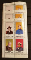 STAFFA SCOTLAND FAMOUS PEOPLE 3 M/SHEETS PERFORED MNH - Sin Clasificación