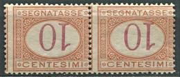 REGNO 1890-94 SEGNATASSE  10 C. CIFRA CAPOVOLTA COPPIA ORIZZONTALE ** MNH SPLENDIDA - Portomarken