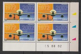 France - 2002 - PA N° Yv. 65 - Airbus A300 - Bloc De 4 Coin Daté - Neuf Luxe ** / MNH / Postfrisch - Luftpost