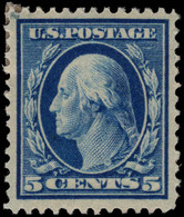 USA 1910-13 5c Prussian-blue Perf 12 Single Line Wmk Fine Lightly Mounted Mint. - Unused Stamps