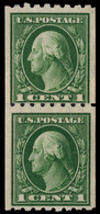 USA 1912 1c Green Coil Paste-up Pair Fine Unmounted Mint. - Unused Stamps