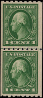 USA 1912 1c Green Horizontal Perf 8½ Coil Joint Line Pair Unmounted Mint. - Unused Stamps