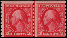USA 1912 2c Carmine Perf 8½ Coil Joint Line Pair Lightly Mounted Mint. - Unused Stamps
