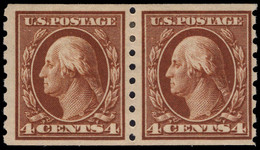 USA 1912 4c Brown 3mm Spacing Perf 8½ Coil Joint Line Pair Lightly Mounted Mint. - Unused Stamps