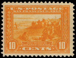 USA 1913 10c Yellow Panama-Pacific Exposition Perf 12 Lightly Mounted Mint. - Unused Stamps