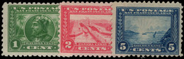 USA 1913 Panama-Pacific Exposition Perf 10 Set To 5c (1c Unmounted 2c Mounted 5c No Gum). - Unused Stamps