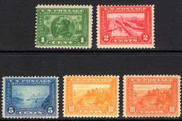 USA 1913 Panama-Pacific Exposition Perf 12 Set Unmounted Mint. - Unused Stamps