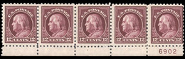 USA 1916 12c Claret-brown In Fine Plate Strip Of 5 Perf 10 No Wmk. Unmounted Mint (plate Single Is Hinged). - Unused Stamps