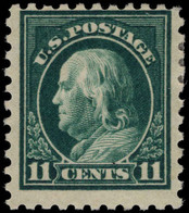 USA 1916-22 11c Myrtle-green No Wmk Perf 10 Fine Lightly Mounted Mint. - Unused Stamps