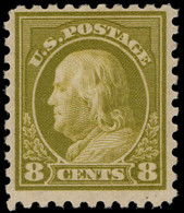 USA 1916-22 8c Yellow-olive No Wmk Perf 10 Fine Lightly Mounted Mint. - Unused Stamps