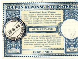 India - Coupon-réponse 63 Naye Paise - Modèle Lo 17A C 22 - IRC CRI IAS - Delhi 1964 - Sin Clasificación