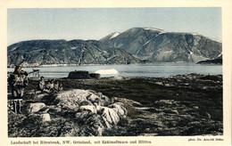 Grönland, Landschaft Bei Ritenbenk, NW Grönland, Mit Eskimofrauen Und Hütten, Phot. Dr. Arnold Heim - Groenlandia