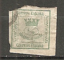 ESP 1873- Yv. N° 140  (o)  1/4c Vert-jaune  Couronne Cote  1,5 Euro  BE  2 Scans - Oblitérés