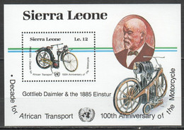 QQ916 1985 SIERRA LEONE TRANSPORT MOTORCYCLES BL MNH - Moto