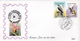 Enveloppe 2244 à 2246 Ophrys Abeille Rhinolophe Faucon Pélerin Rapace Aalst Année Européenne Environnement Ferrières - Cartas