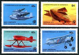 Dominica Dominique 1983 200 Ans Vol Humain  Fairey Swordfish, Macchi M-39, Short-Mayo Composite, Zeppelin LZ-3 - Aerei