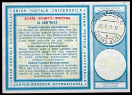 UNO GENF Vi19 90 C. International Reply Coupon Reponse Antwortschein IRC IAS O GENEVE NATIONS UNIES 10b 25.5.73 - Cartas