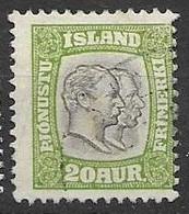1907 Iceland Officials Stamp VFU 5 Euros - Officials