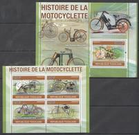 TG1255 2010 TOGO TOGOLAISE HISTORY OF MOTOCYCLES 1KB+1BL MNH - Moto