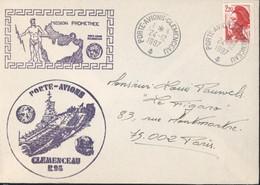 Marine Nationale Mission Prométhée Porte-avions Clémenceau R98 YT Liberté Gandon 2376 CAD Agence Embarquée 24 12 87 - Maritieme Post