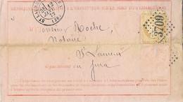 """France Lettre """"CHARGÉ"""" N°59 GC 3709 St-Laurent-du-Jura Pour Morez-du-Jura Le 12-JANV-1872 - 1849-1876: Période Classique"""