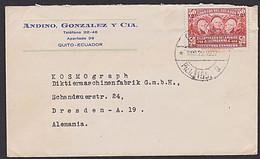 Ecuador Quito Letter To Alemania Dresden Diktiermaschinenfabrik KOSMOGRAPH - Central America