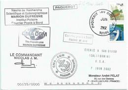YT 2128 - Perche Arc En Ciel - YT 1962 - Barque - Posté à Bord Du MD - Escale à San Diego - 06/2002 - Cartas