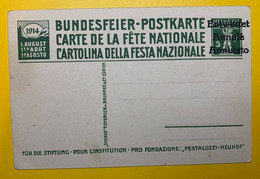 13380 -  Fête Nationale 1914 No 8 Pestalozzi à Stans Annulé - Stamped Stationery