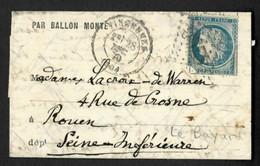 """France N° 37, OBL GC 4290 + CAD T17 """"Vincennes"""" (28 Dec 70) Sur Formule Imprimée """"par Ballon Monté"""" Sans Arrivée.  TB - 1849-1876: Periodo Classico"""