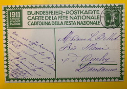 13381 -  Fête Nationale 1911 No 2 Salvan 02.08.1911 - Stamped Stationery