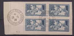 FRANCE : N° 252 . 2 TI Et 2 TIII . BLOC DE 4 . CAISSE D'AMORTISSEMENT . OBL . TB . SIGNE CALVES . 1928 - Used Stamps